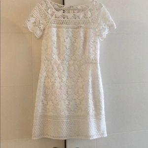 Club Monaco short sleeve white lace dress